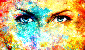 Woman eyes on abstract color Backgrounds, painting. Collage with spots, rust structure Stock Images