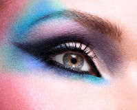 Woman eyes with beautiful  fashion bright blue makeup Royalty Free Stock Photography