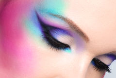 Woman eyes with beautiful  fashion bright blue makeup. Closeup woman eyes with beautiful  fashion bright blue makeup Royalty Free Stock Image