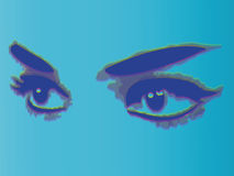 Woman eyes  on blue background. Royalty Free Stock Image