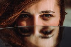 Free Woman Eyes Close Up Reflected In Mirror. Hypnotize Strong Look. Hypnotic Deeply Penetrating Glance. Revengeful Insidious Expectant Royalty Free Stock Photos - 161531258