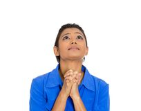 Woman eyes closed praying hoping for the best Royalty Free Stock Photography