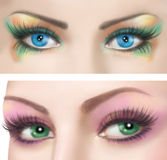 Woman eyes with colorful evening make-up Stock Photo