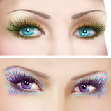 Woman eyes with colorful evening make-up Royalty Free Stock Images