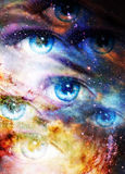 Woman eyes in cosmic background. Painting and graphic design. Stock Photos