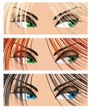 Woman eyes different colors Stock Photography