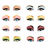 Woman eyes with different makeup Royalty Free Stock Image