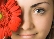 Woman eyes and flower. Close-up woman eyes and red gerbera flower in front of her head Stock Images