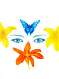 Woman eyes with flower and butterfly, color pencil drawing, eye contact. Royalty Free Stock Photo