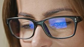 Woman Eyes with Glasses stock footage
