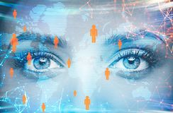 Woman eyes and global people network icons Stock Photos