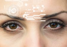 Woman eyes with interface screen Stock Photo