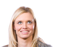 Woman eyes looking up Stock Images