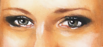 Woman eyes with makeup, eye contact, graphic from painting detail. Woman eyes with makeup, eye contact, graphic from painting detail Royalty Free Stock Image