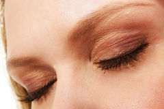 Woman eyes with makeup and long eyelashes royalty free stock photography