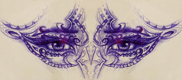 Woman eyes with ornament, pen drawing, eye contact. Royalty Free Stock Photography