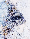 Woman eyes with ornament, pencil drawing, eye contact. Crackle effect and Computer collage. Royalty Free Stock Photography