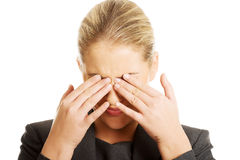 Woman with eyes pain Stock Photos