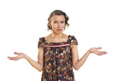 Woman eyes wide opened his arms in hand Royalty Free Stock Image