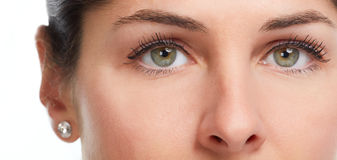 Woman eyes. Young beautiful woman face close up eyes looking camera Stock Image