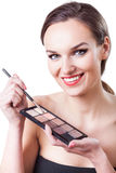 Woman with eyeshadows palette Royalty Free Stock Image