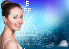 Woman on eyesight exam Royalty Free Stock Images