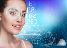 Woman on eyesight exam Stock Photo