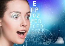 Woman on eyesight exam Stock Images