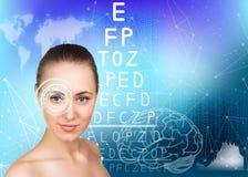 Woman on eyesight exam Stock Image