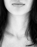 Woman face. Black nd white photo of part of woman facr with lips, neck and hair stock photos