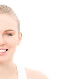 Woman face. Beautiful face of skin,eyes and white teeth with copy space Stock Photos