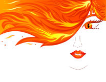 Woman face. Vector of woman face with fire hair Stock Images