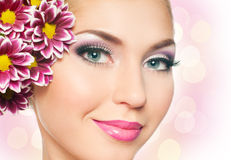 Woman face. With bright makeup Royalty Free Stock Photos