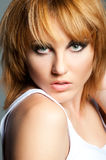 Woman face. Glamour red-haired woman portrait Royalty Free Stock Photos