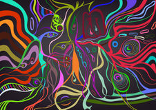 Woman face in abstract style, psychedelic surreal poster. Stock Photo