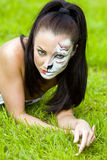 Woman with face art on grass Stock Photography