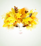 Woman face. Beautiful autumn women with abstract hair and design elements Stock Images