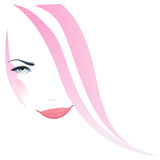 Woman face. Beautiful girl face in pink illustration Royalty Free Stock Photo