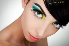Woman face with beautiful makeup Stock Photo