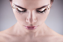 Woman face with beautiful wedding makeup Royalty Free Stock Images