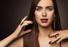 Woman Face Beauty Makeup, Fashion Model Make Up, Eyes Lips Nails Stock Photos
