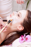 Woman face with beauty treatment cosmetic spa Stock Photo