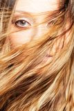 Woman face behind flying hair Stock Images