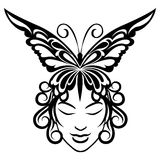 Woman face with butterfly hairdress Royalty Free Stock Photography