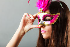 Woman face with carnival mask Royalty Free Stock Image