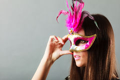 Woman face with carnival mask Stock Images