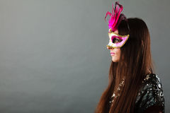 Woman face with carnival mask Stock Image