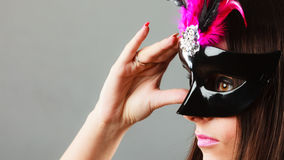 Woman face with carnival mask Stock Photography