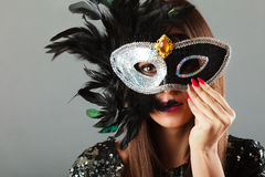 Woman face with carnival mask Royalty Free Stock Images