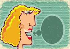 Woman face cartoon with bubble on old poster textu Royalty Free Stock Photo
